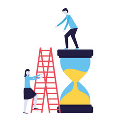 businessman and woman with clock and stairs vector image