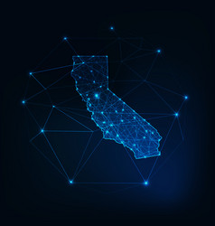 California state usa map glowing silhouette vector