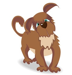 Cartoon brown dog with green eyes vector