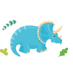 Cartoon dinosaur triceratops vector