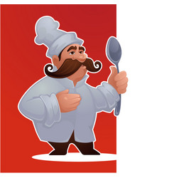 Cartoon man chef proffessional character for vector