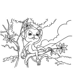 Cartoon monkey playing in the forest coloring page vector