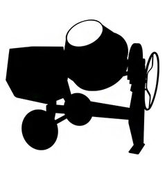 Cement mixer silhouette vector
