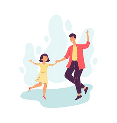 cheerful father dancing with his daughter flat vector image