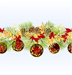 christmas seamless bordern branches pine cones vector image