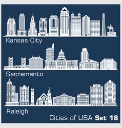 Cities usa - kansas city sacramento raleigh vector