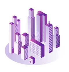 city isometric concept with multi storey office or vector image