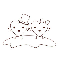 couple heart character kawaii holding hands and vector image