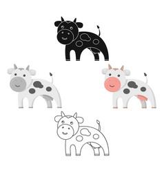 cow icon cartoonblack single bio eco organic vector image