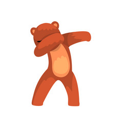 Cute bear standing in dub dancing pose cartoon vector