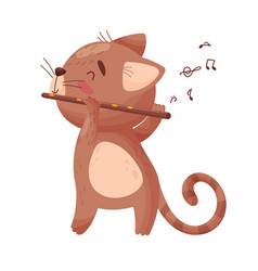 Cute cat with a flute on vector