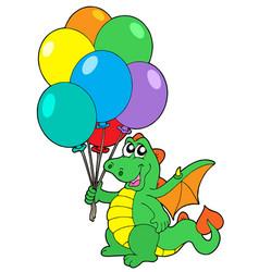 Cute dragon with balloons vector