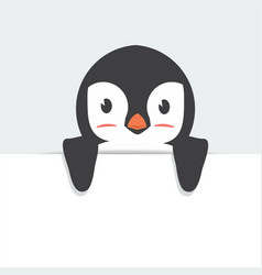 cute penguin holding sign cartoon vector image