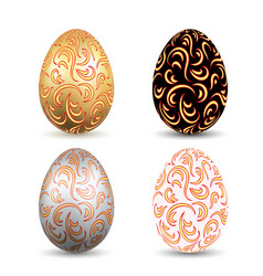 easter egg 3d icons ornate color eggs set vector image