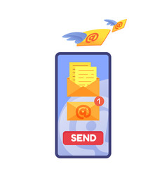 email message notification in phone screen vector image