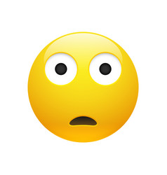 Emoji yellow sad surprised face vector