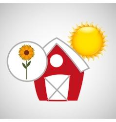 Farm countryside garden sunflower design vector