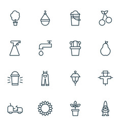 farm icons set with pail scale tractor and other vector image