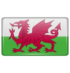 Flags Wales in the form of a magnet on vector
