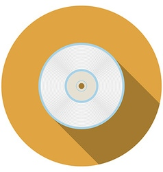 Flat design compact disc icon with long shadow vector