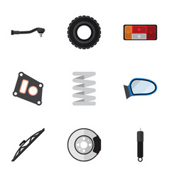 Flat icon parts set of metal input technology vector