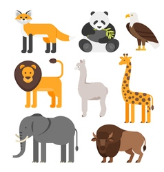 flat style set of animals vector image