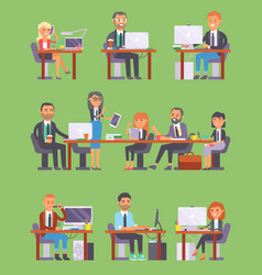 Flatr business people workplace office vector