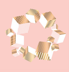 Geometry shapes in pale pink and gold vector
