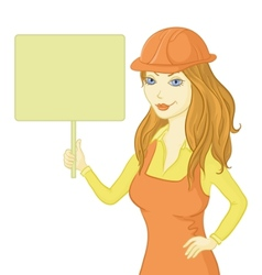 girl worker holding a sign vector image