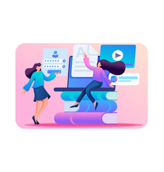 girls in network choose a training course vector image