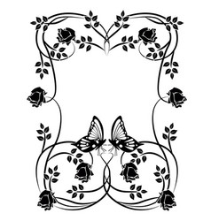 Graphic element flowers butterflies and frame vector