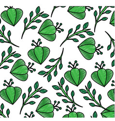 green flower branch leaves bloom decoration vector image