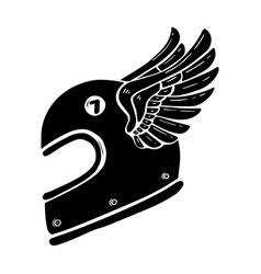 Hand drawn racer helmet with wings isolated on vector