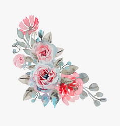 handmade watercolor bouquet of flowers - rose vector image