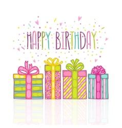 Happy Birthday present gift box with confetti vector image