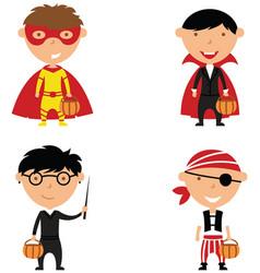 happy boys in halloween costumes vector image