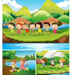 Happy children playing in the park vector