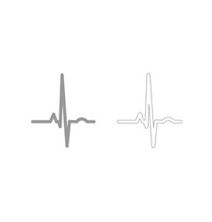 heart rhythm ekg grey set icon vector image