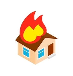 House on fire isometric 3d icon vector image