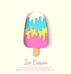 Ice cream paper cut vector