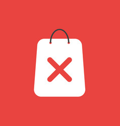 Icon concept of shopping bag with x mark on red vector
