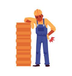 Injured construction worker cartoon character flat vector