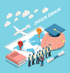 Isometric drain brain composition vector