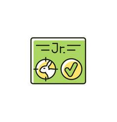 Junior hunting license rgb color icon vector
