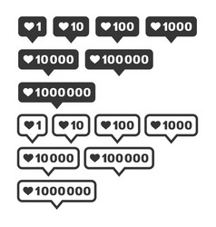 like and follower counter notification icons set vector image