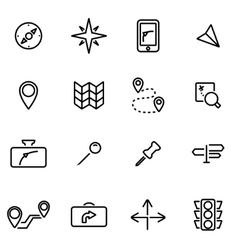 line navigation icon set vector image