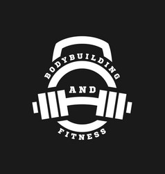 linear logo bodybuilding and fitness on a dark vector image