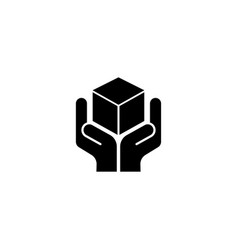 Logistics hand holding parcel flat icon vector