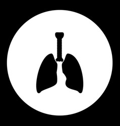 lung internal organ medical simple black icon vector image vector image