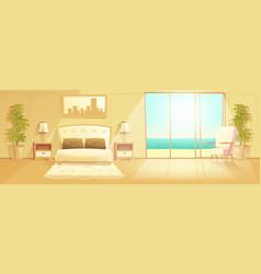 Luxury resort hotel room interior cartoon vector